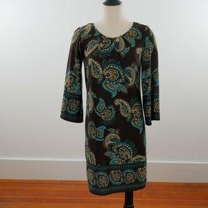 AlynPaige NY Paisley Knit LS Brown Shift Dress Med